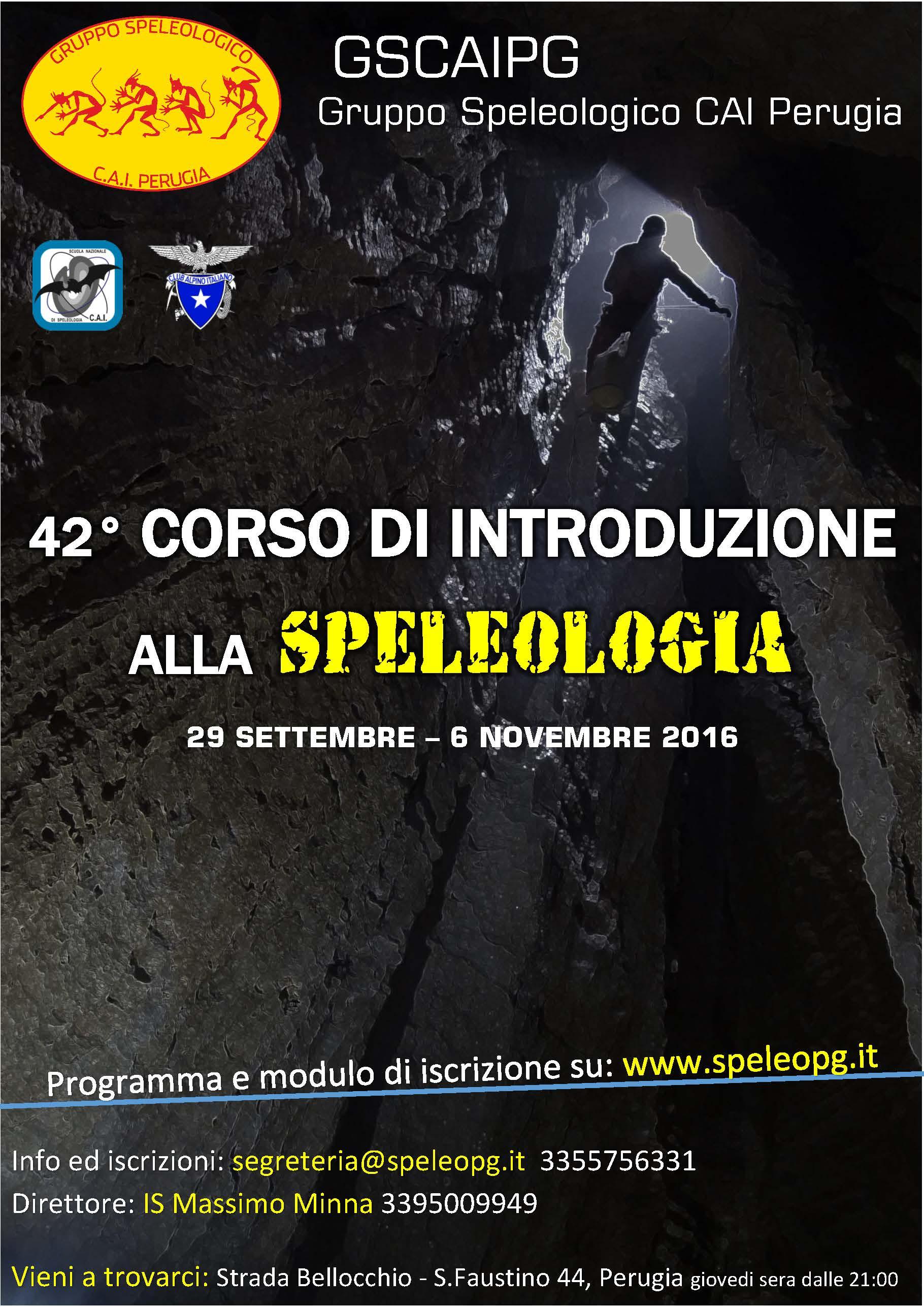 42° CORSO SEZIONALE di INTRODUZIONE ALLA SPELEOLOGIA