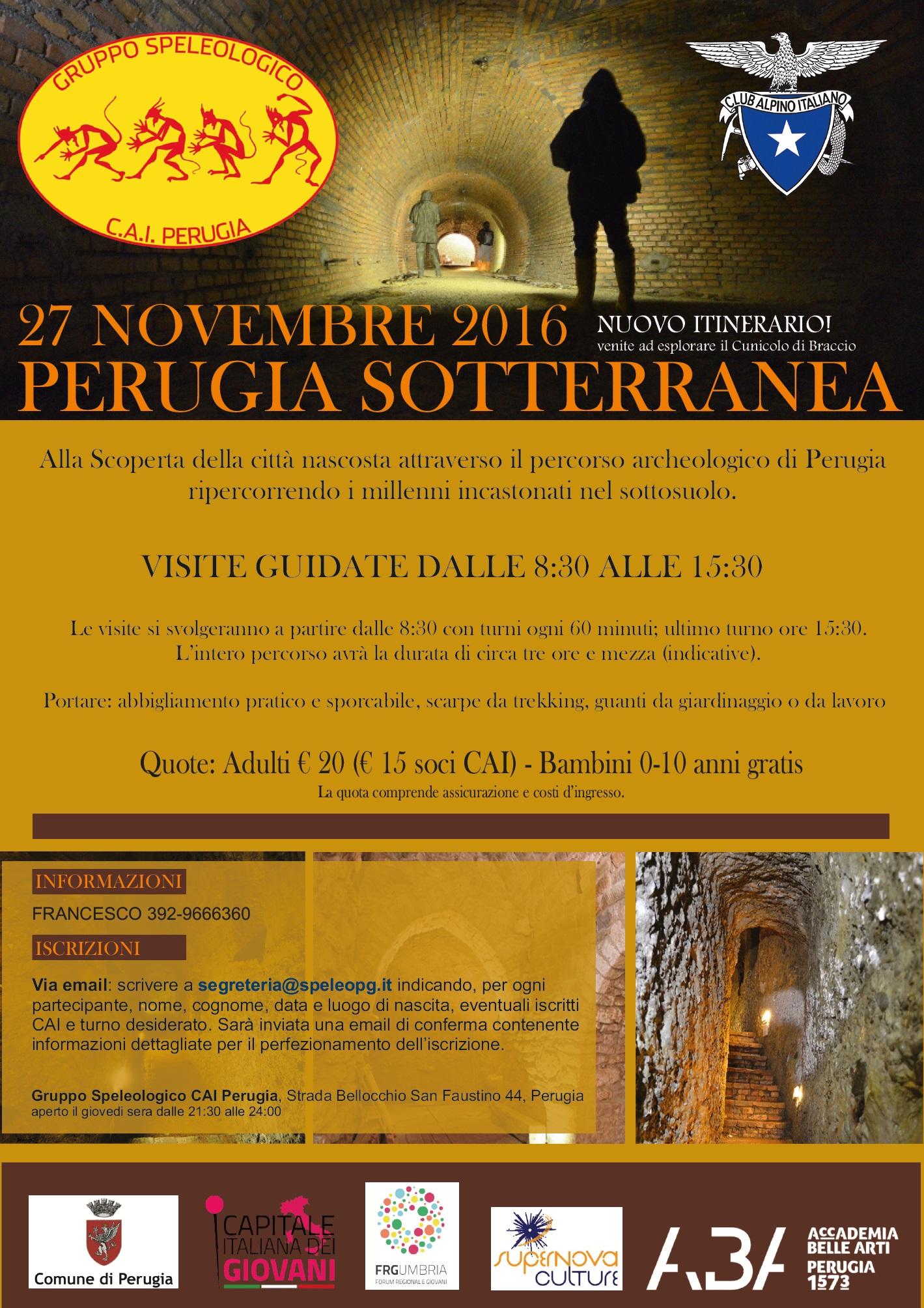 Perugia sotterranea 27/11/2016 iscrizioni aperte!