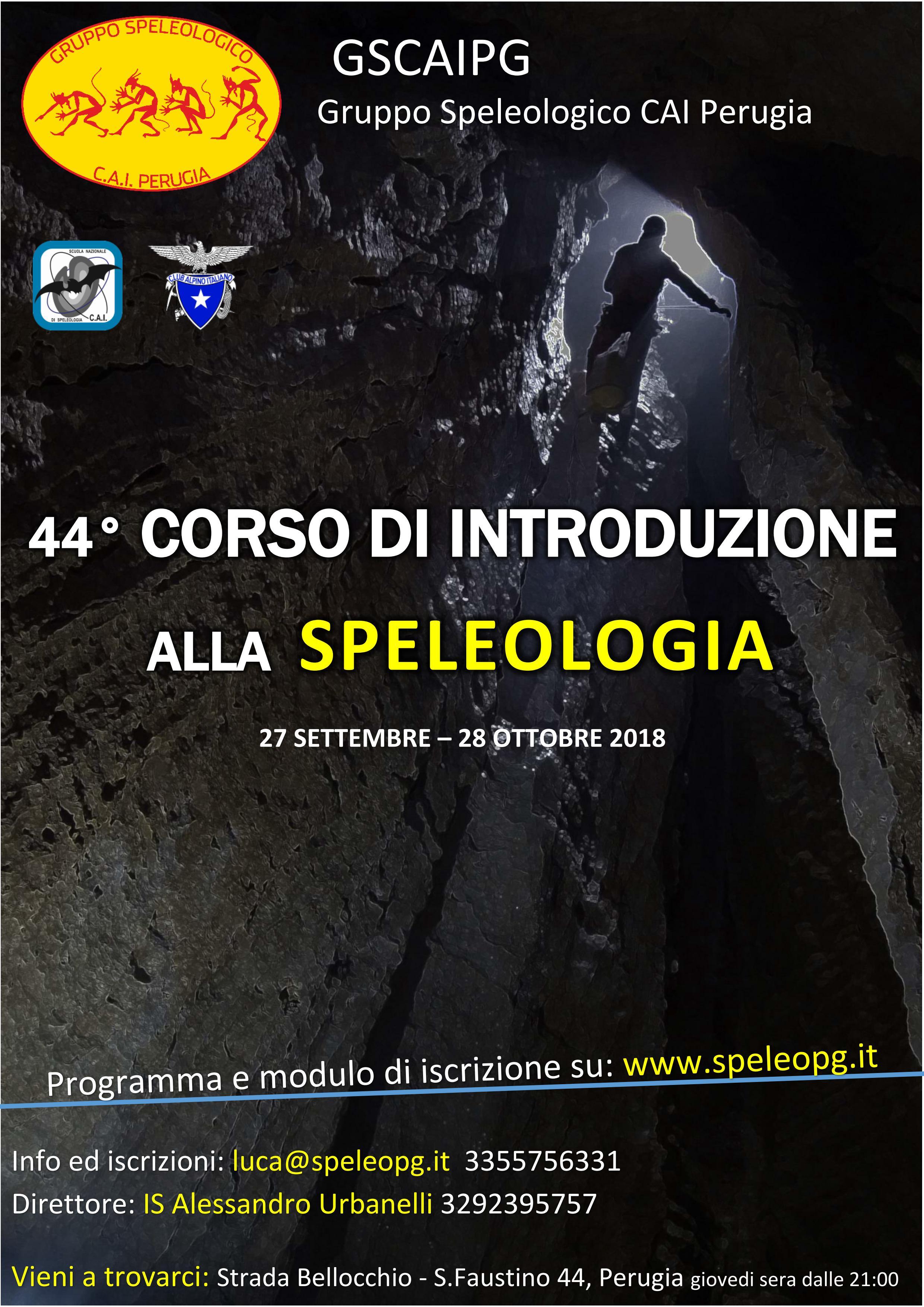 44° CORSO SEZIONALE di INTRODUZIONE ALLA SPELEOLOGIA