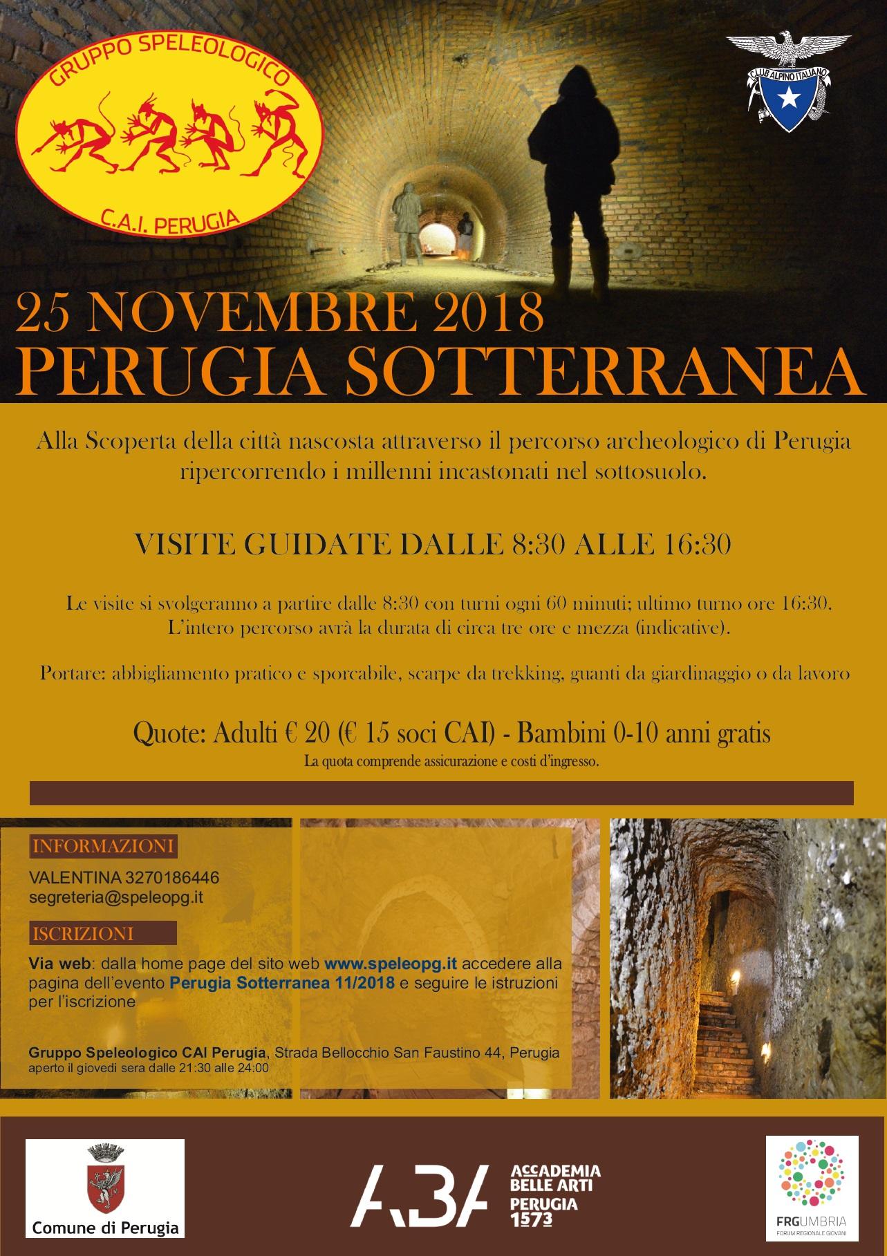 ISCRIZIONI CHIUSE – PERUGIA SOTTERRANEA 25/11/2018